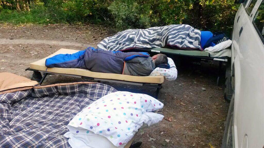 Adam and Matt on their cots