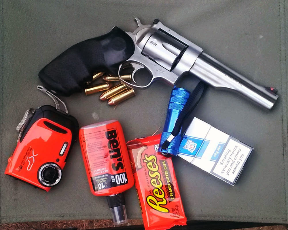 Dr. Johnson's .44 Magnum and camping supplies